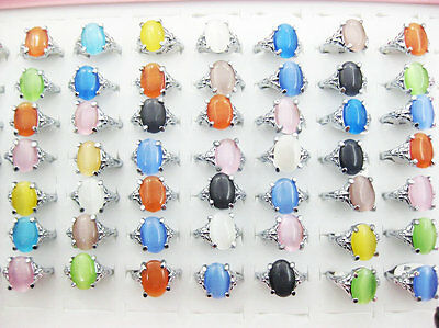 10pcs wholesale Jewelry lots Multicolor cat-eye silver plated rings free J13