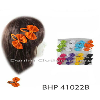 12~24 Baby Girls kids Hair Accessories Bow Solid Color Snap Clips Hairpin 2""