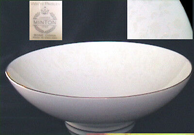 """Minton white paisley china vegetable bowl gold trimmed 8 3/4"""" made in England"""
