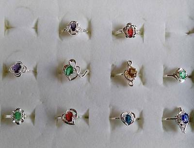 Wholesale 10pcs/lot 925 Sterling Silver Beautiful Multicolors CZ Rings Size 5-9