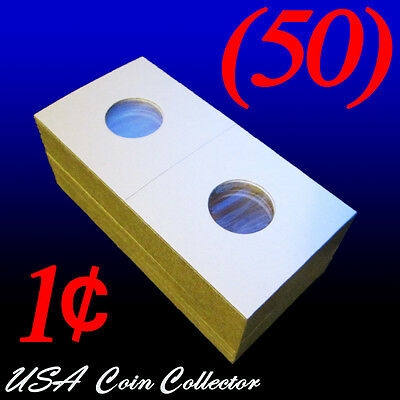 (50) Penny Size 2x2 Mylar Cardboard Coin Flips for Storage   1 Cent Paper Holder