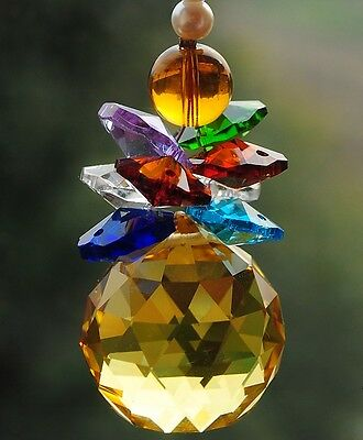 yellow crystal 30mm feng shui ball hanging chandelier window decoration ornament