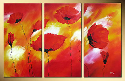 Yuhong Red poppy hand painted Floral oil painting bestbid_mall A461