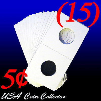 (15) Nickel Size 2x2 Mylar Cardboard Coin Flip for Storage | 5 Cent Paper Holder