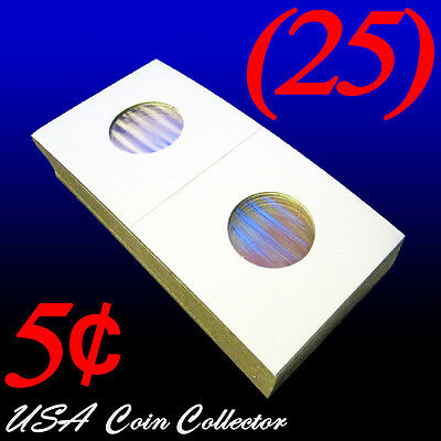(25) Nickel Size 2x2 Mylar Cardboard Coin Flip for Storage | 5 Cent Paper Holder