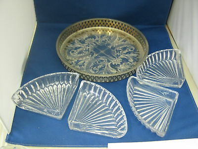 """Cut Glass  Four Compartment Silver Plate and Glass Dis 1.1/2""""tall x 9"""" across."""