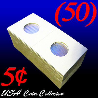 (50) Nickel Size 2x2 Mylar Cardboard Coin Flip for Storage | 5 Cent Paper Holder