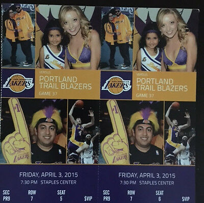 TWO (2) Los Angeles Lakers vs Portland Trail Blazers VIP PR9 Tickets 04/03/2015