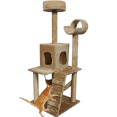 """Beige 52"""" Cat Kitty Tree Tower Condo Furniture Scratch Post Pet House Toy Bed"""