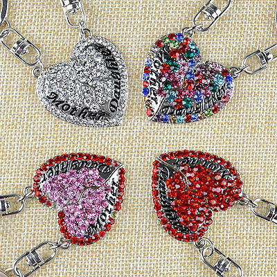 2X Mother Daughter Love Heart Keyring Crystal Charm Pendant Purse Key Chain Gift