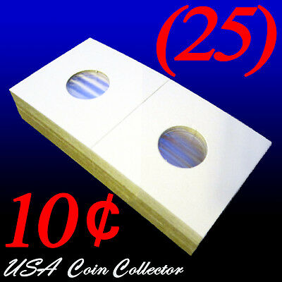 (25) Dime Size 2x2 Mylar Cardboard Coin Flips for Storage | 10 Cent Paper Holder