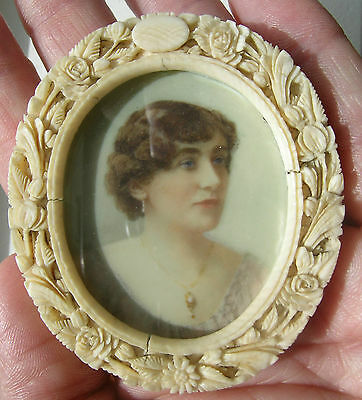 Antique Portrait Miniature in Beautiful Carved Chinese Cow Bone Frame