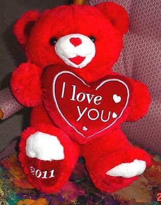 """2011 VALENTINES DAY Teddy Red Bear """"I love you"""" On Red Heart Best GIFT NEVER"""