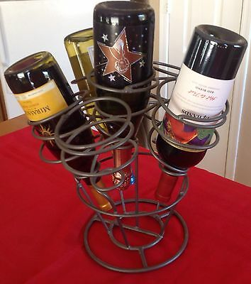 Unique Wrought Iron Metal 6-Bottle Wine Rack Holder Tabletop Or Floor Sturdy EUC