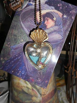 NWT Betsey Johnson Sea Excursion Heart Ocean shell Statement Charm Necklace