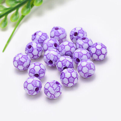 10mm 30PCS charm for ASSORTED acrylic football pattern beads Free shipping Y030