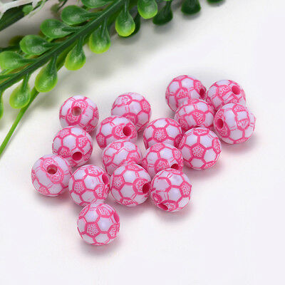 10mm 30PCS charm for ASSORTED acrylic football pattern beads Free shipping Y026