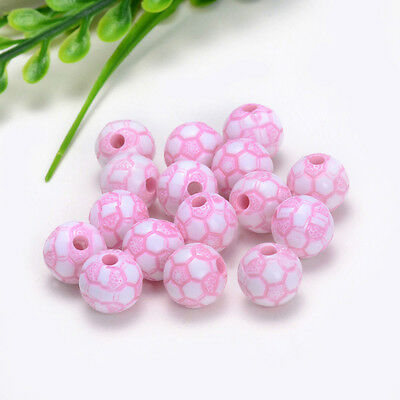 10mm 30PCS charm for ASSORTED acrylic football pattern beads Free shipping Y025