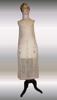 antique genuine french flapper gown dress muslin pearls 1920 Art Deco Charleston