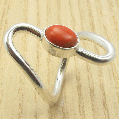 925 Silver Overlay ORANGE COPPER TURQUOISE Curved Ring Size US 6 1/4 BRAND NEW