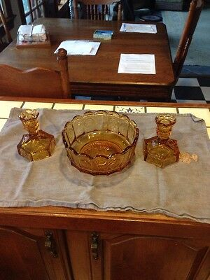 Vintage Amber Fostoria COIN GLASS Candlesticks Bicentennial With Matching Bowl