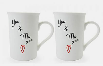 Lesser And Pavey Gift Set Of 2 Ceramic White Mugs Love You & Me Lp33354