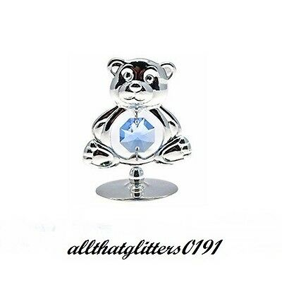 Crystal Temptations Silver Plated Blue Teddy Bear Christening/Newborn Gift 50107