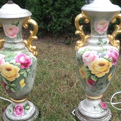 Vintage End Table Lamp Hand Painted Ceramic  2 Pc  Gorgeous  Made in Italy