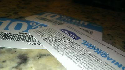 6 Lowes 10%-Off-Coupons Expire 5/7/15 Blue Cards use at Lowe's or Home Depot!