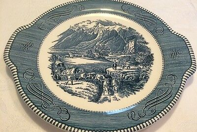 Vintage CURRIER AND IVES ROYAL  BLUE The Rocky Mountains Platter with handles