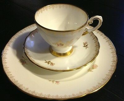 Royal Tuscan Rosalie England Fine Bone China Footed Cup & Saucer Desert Plate