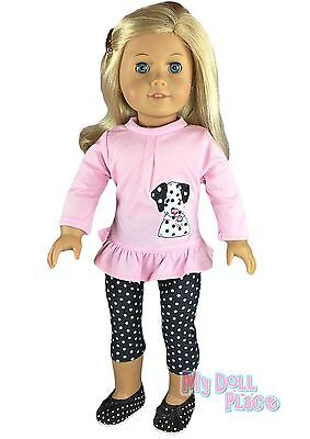 """Pink Doggie Top +Leggings+Shoes Cute Set made for 18"""" American Girl Doll Clothes"""