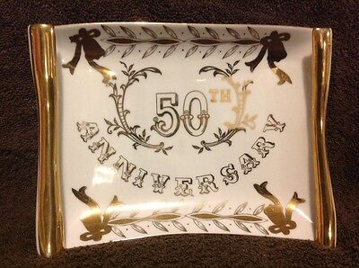 Vintage Lefton China 50th Anniversary Scroll Dish Gold Color Trim 1960's