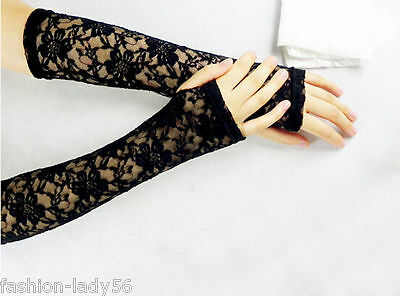 Sexy Women Black Lace Flower Fashion Vintage Shading Long Fingerless Glove