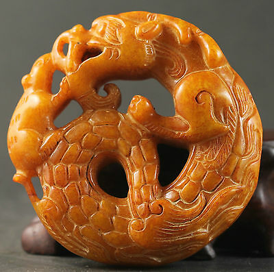 Chinese old jade hand-carved dragon design pendant 2 inch