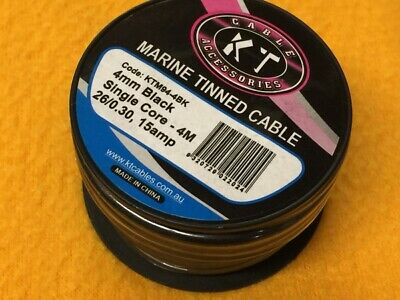 4m x 15 Amp Marine tinned cable 4 mm Black GP Car + boat electrical wire TYCAB