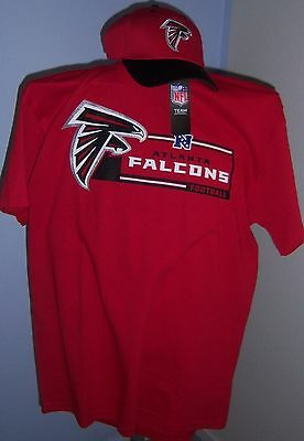 NEW AUTHENTIC NFL ATLANTA FALCONS RED T-SHIRT & EMBROIDERED HAT MENS L