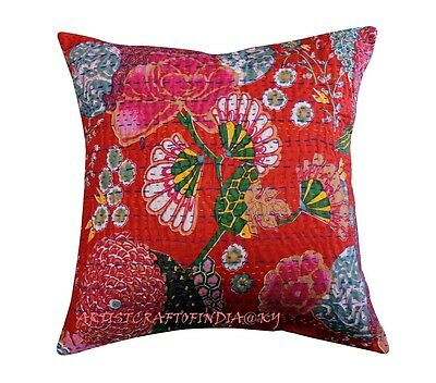 """16"""" INDIAN KANTHA CUSHION COVER HANDMADE DECORATIVE VINTAGE FLORAL RED PILLOW 2"""