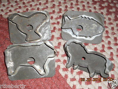 19TH CENTURY SET OF FOUR TIN ANIMAL COOKIE CUTTERS CHICK,FISH,LION,DOG CUTE