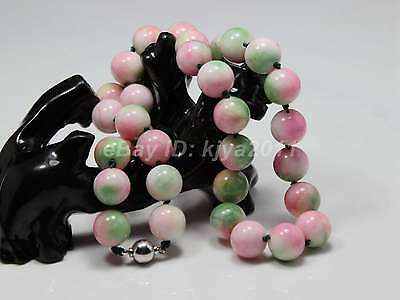 A-91 18 Inches Beautiful Fashion Chinese Pink & Green Jade Gems Pendant Necklace