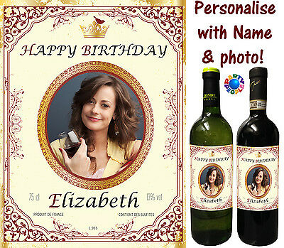 Personalised Wine Bottle Label - Any Photo + Any Name - Perfect Wine Lovers Gift