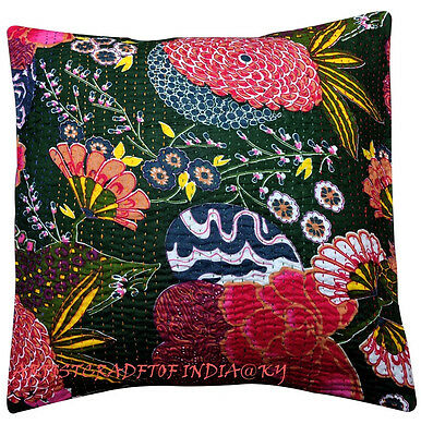 """16"""" INDIAN KANTHA GREEN CUSHION COVER HANDMADE DECORATIVE VINTAGE FLORAL PILLOW"""