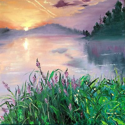 original oil painting signed water reflection flowers home decor US Landscape