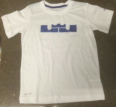New Nike Dri Fit Lebron James King Crown Logo T-Shirt White Read Description LJ