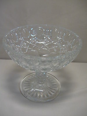 Crystal Clear Pedestal Candy Nut Dish Bowl Thumb Print Flower Diamond Design