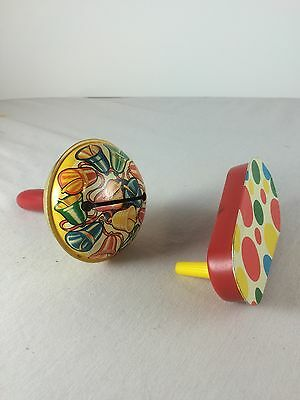 Set of 2 Vintage Metal Tin Party Noise Makers New Years Eve