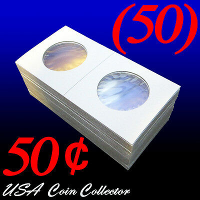 (50) Half Dollar Size 2x2 Mylar Cardboard Coin Flips Storage | 50 Cent Holders
