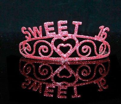 Sweet 16 Pink Sparkle Tiara Crown 16th Birthday Party Novelty Sixteen