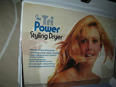 Sears Tri Power Styling Dryer/VINTAGE & Attachments,Case 800 Watts==Excellent