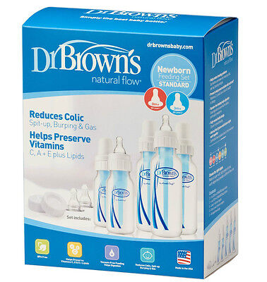 Dr Browns Natural Flow Baby Bottles Newborn Feeding Set Anti Colic NEW
